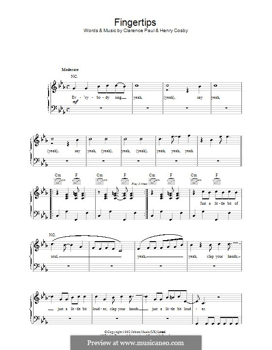 Fingertips (Stevie Wonder): For easy piano by Clarence Paul, Henry Cosby