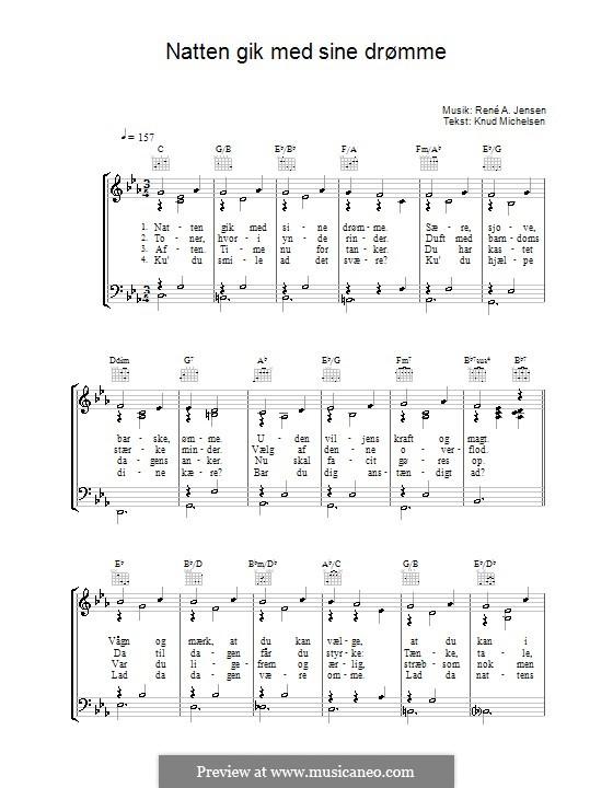 Natten Gik Med Sine Drømme: For voice and piano (or guitar) by René A. Jensen