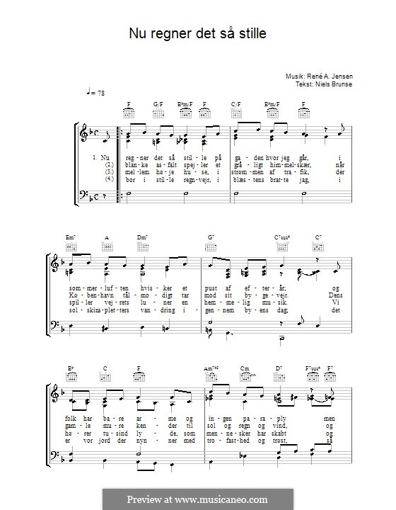 Nu Regner Det Så Stille: For voice and piano (or guitar) by René A. Jensen