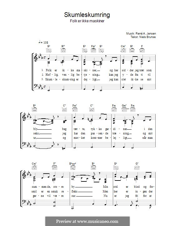 Skumleskumring: For voice and piano (or guitar) by René A. Jensen