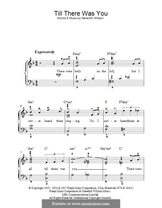 Till There Was You: For easy piano by Meredith Willson