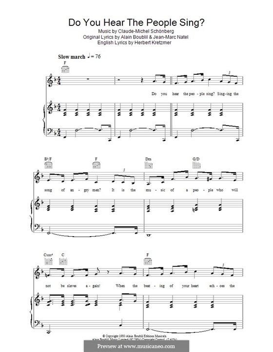 Do You Hear the People Sing: For voice and piano (or guitar) by Claude-Michel Schönberg