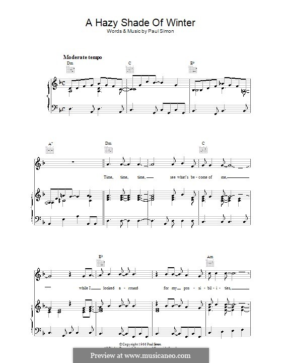 A Hazy Shade of Winter (Simon & Garfunkel): For voice and piano (or guitar) by Paul Simon