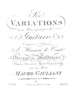Six Variations for Guitar, Op.20: For a single performer by Mauro Giuliani