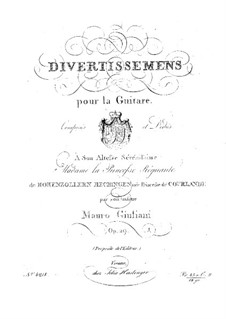 Divertissements for Guitar, Op.29: For a single performer by Mauro Giuliani