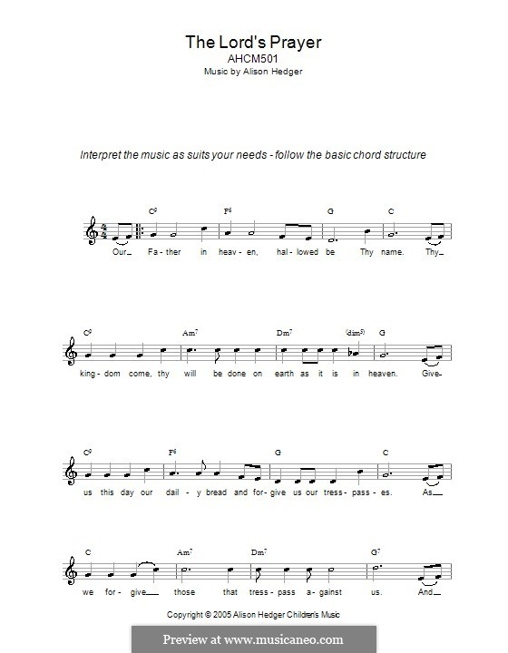 The Lords Prayer By Folklore Sheet Music On Musicaneo