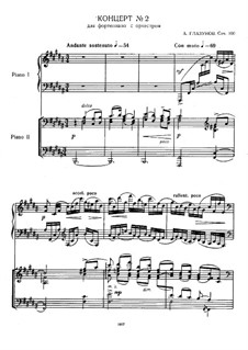 Concerto for Piano and Orchestra No.2, Op.100: Arrangemenet for two pianos four hands by Alexander Glazunov