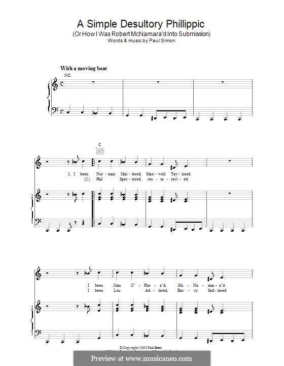 A Simple Desultory Philippic (Or How I Was Robert McNamara'd Into Submission): For voice and piano (or guitar) by Paul Simon