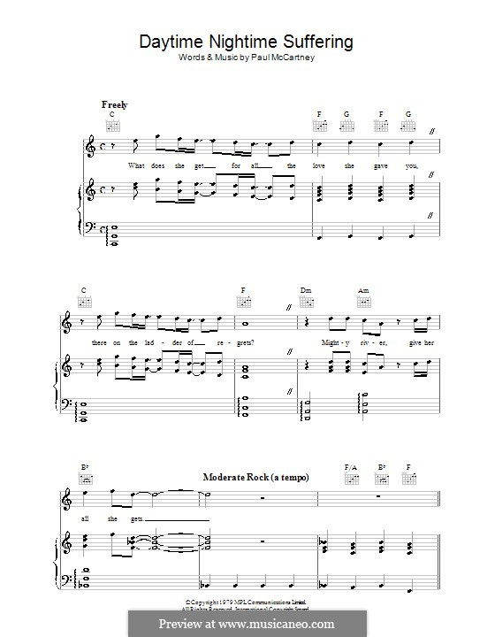 Daytime Nightime Suffering: For voice and piano (or guitar) by Paul McCartney