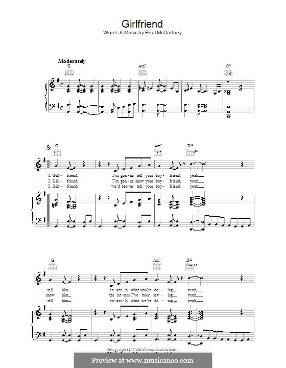 Girlfriend: For voice and piano (or guitar) by Paul McCartney