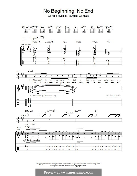 No Beginning No End: For guitar with tab by Hawksley Workman