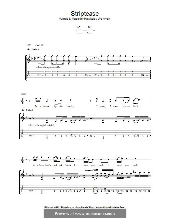 Striptease: For guitar with tab by Hawksley Workman
