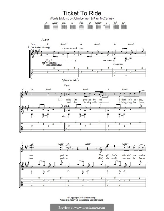 Ticket to Ride (The Beatles): For guitar with tabulature by John Lennon, Paul McCartney