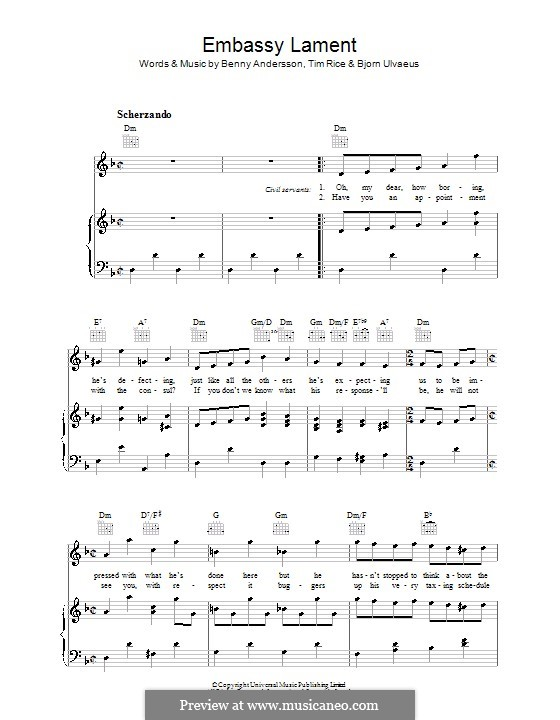 Embassy Lament (from Chess): For voice and piano (or guitar) by Benny Andersson, Björn Ulvaeus