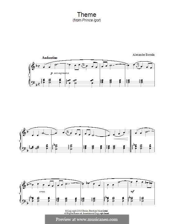 Polovtsian Dances: For piano (theme) by Alexander Borodin