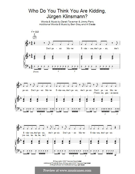 Who Do You Think You Are Kidding, Mr. Hitler? (theme from Dad's Army): For voice and piano (or guitar) by Derek Taverner, Jimmy Perry