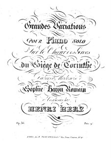 Grand Variations on Theme from 'Le siège de Corinthe' by Rossini, Op.36: Grand Variations on Theme from 'Le siège de Corinthe' by Rossini by Henri Herz