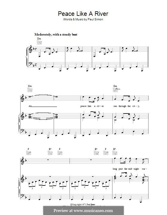 Peace Like A River By P Simon Sheet Music On Musicaneo
