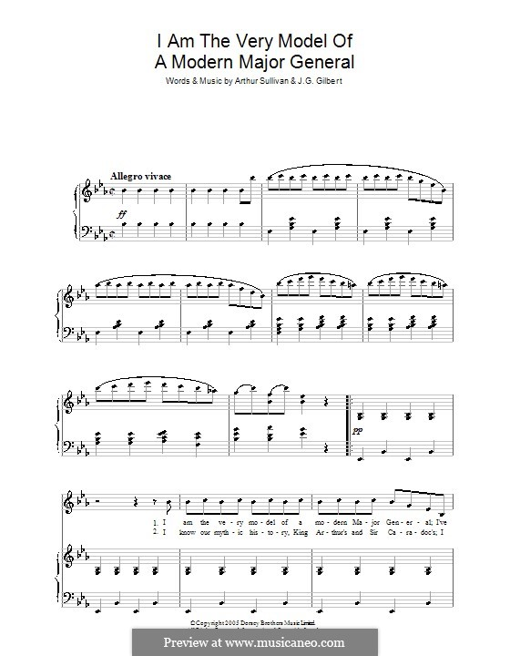 Act I, No.13 I am the Very Model of a Modern: For voice and piano by Arthur Seymour Sullivan