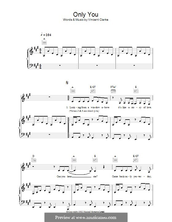 Only You (Yazoo): For voice and piano (or guitar) by Vince Clarke