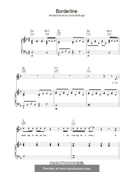 Borderline: For voice and piano (or guitar) by Chris de Burgh