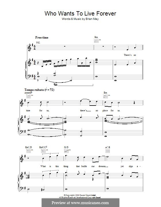 Who Wants To Live Forever Queen By B May Sheet Music On Musicaneo