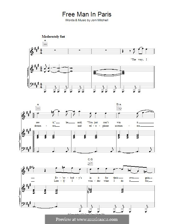 Free Man in Paris: For voice and piano (or guitar) by Joni Mitchell