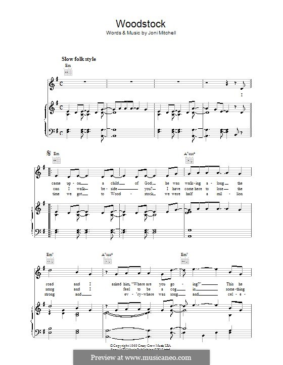 Woodstock Eva Cassidy By J Mitchell Sheet Music On Musicaneo