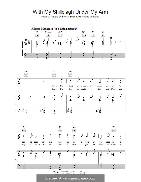 With My Shillelagh Under My Arm: For voice and piano (or guitar) by Billy O'Brien, Raymond Wallace