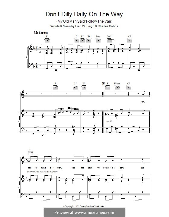 Don't Dilly Dally on the Way: For voice and piano (or guitar) by Charles Collins, Fred W. Leigh