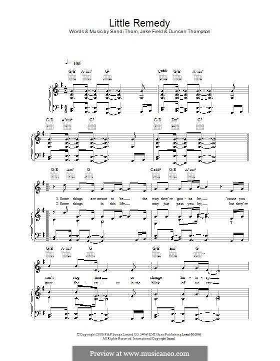 Little Remedy (Sandi Thom): For voice and piano (or guitar) by Duncan Thompson, Jake Field