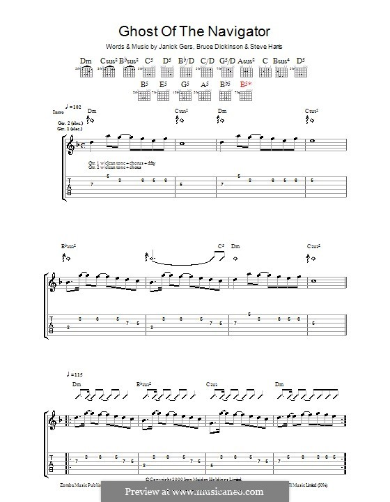 Ghost of the Navigator (Iron Maiden): For guitar with tab by Bruce Dickinson, Janick Gers, Steve Harris
