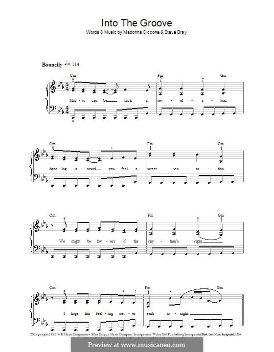 Into the Groove (Madonna): For easy piano by Stephen Bray