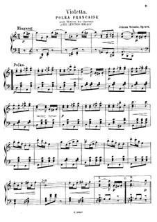 Violetta. Polka, Op.404: For piano by Johann Strauss (Sohn)