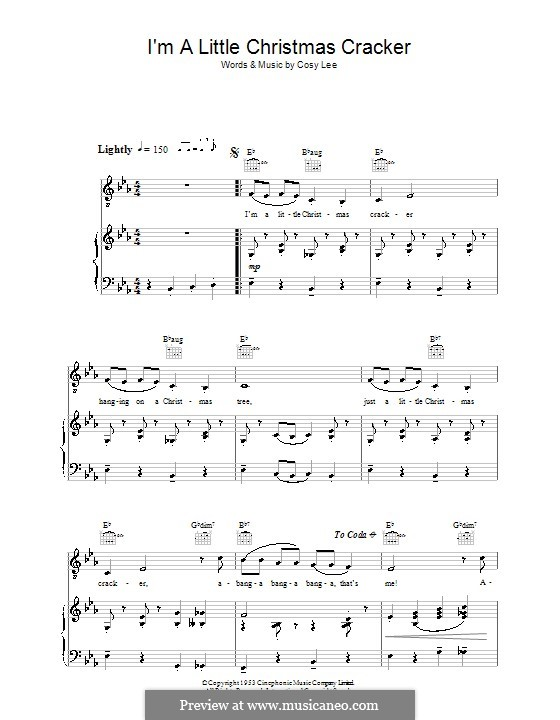 I'm a Little Christmas Cracker (Diana Decker): For voice and piano (or guitar) by Cosy Lee