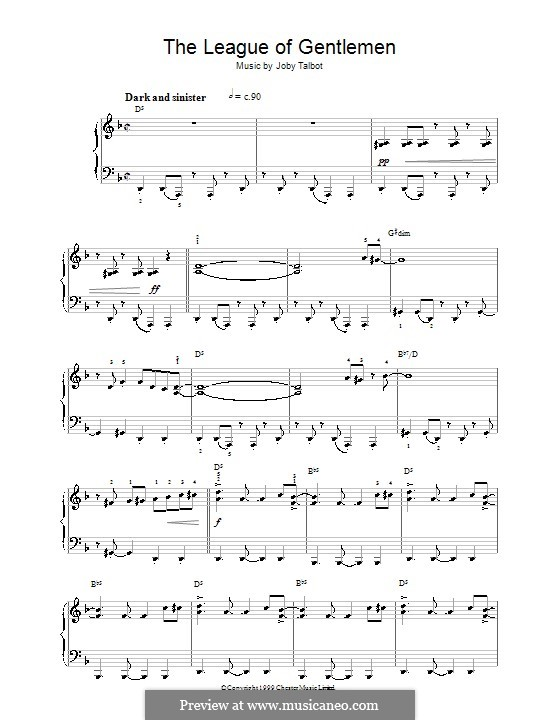 The League of Gentlemen: For easy piano by Joby Talbot
