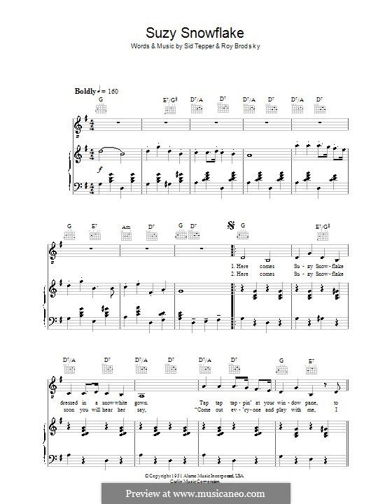 Suzy Snowflake (Rosemary Clooney): For voice and piano (or guitar) by Roy C. Bennett, Sid Tepper