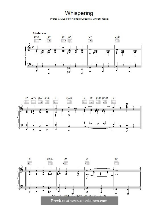 Whispering (Benny Goodman): For voice and piano (or guitar) by John Schonberger, Richard Coburn, Vincent Rose