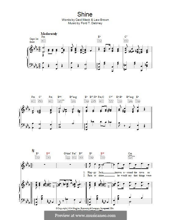 Shine (Lew Brown): For voice and piano (or guitar) by Ford T. Dabney
