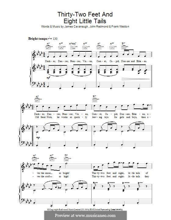 Thirty-Two Feet and Eight Little Tails (Dale Evans): For voice and piano (or guitar) by Frank Weldon, James Cavanaugh, John Redmond