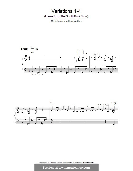 Variations 1-4 (theme from The South Bank Show): For easy piano by Andrew Lloyd Webber