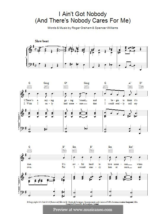 I ain't Gonna Give Nobody None of This Jelly Roll (Louis Armstrong): For voice and piano (or guitar) by Spencer Williams