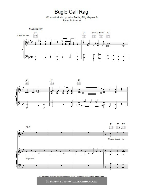 Bugle Call Rag (Benny Goodman): For voice and piano (or guitar) by Billy Meyers, Elmer Schoebel, Jack Pettis