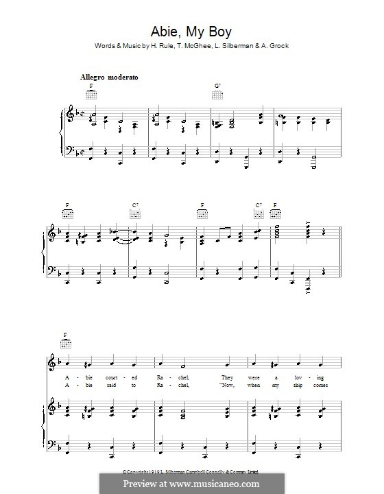 Abie, My Boy: For voice and piano (or guitar) by A. Grock