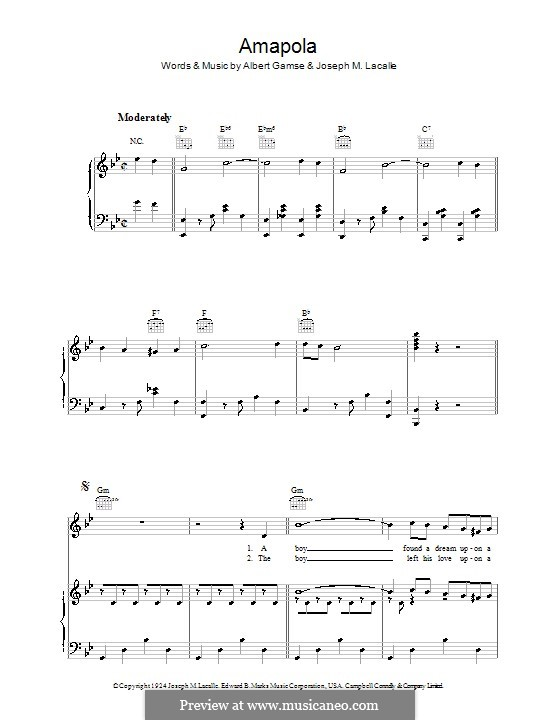 Amapola (Pretty Little Poppy): For voice and piano (or guitar) by Joseph M. Lacalle