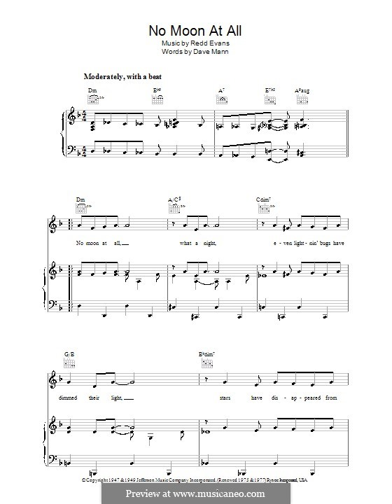 No Moon at All: For voice and piano (or guitar) by Redd Evans
