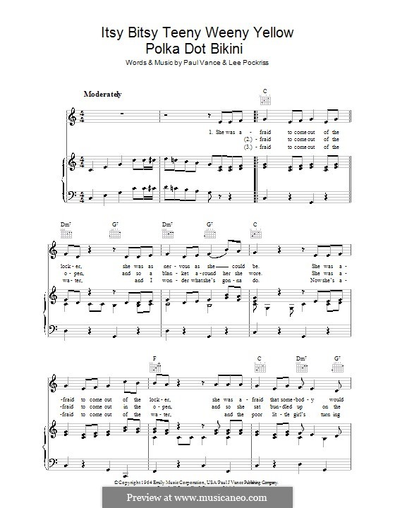 Itsy Bitsy Teenie Weenie Yellow Polka Dot Bikini: For voice and piano (or guitar) by Lee Pockriss, Paul J. Vance