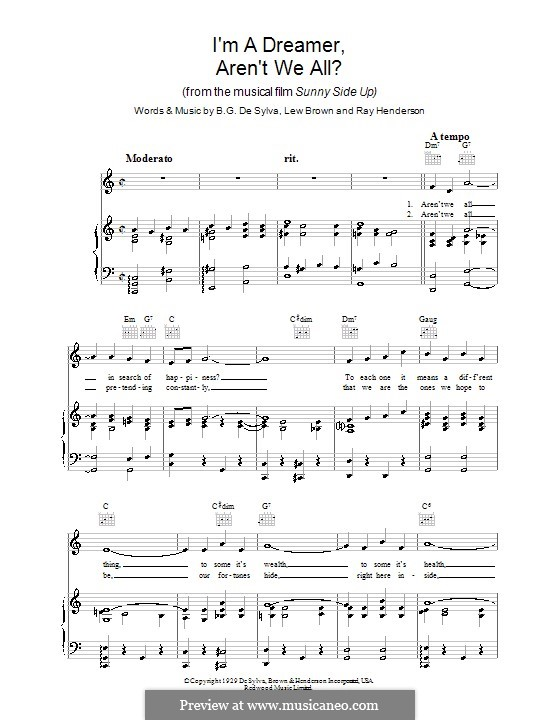 I'm a Dreamer, aren't We All?: For voice and piano (or guitar) by Buddy Gard DeSylva, Ray Henderson, Lew Brown