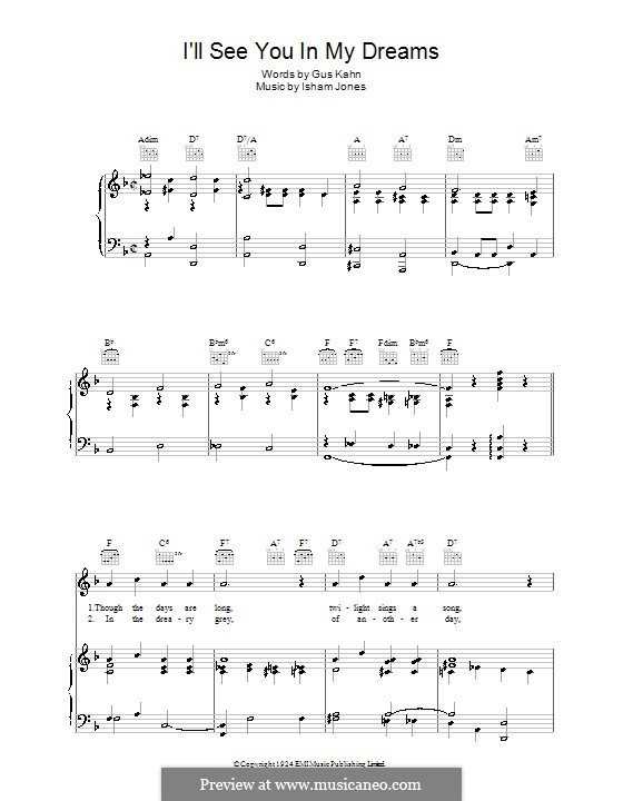 I'll See You in My Dreams: For voice and piano (or guitar) by Isham Jones
