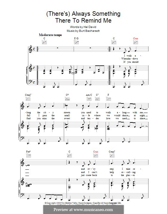 (There's) Always Something There to Remind Me: For voice and piano (or guitar) by Burt Bacharach